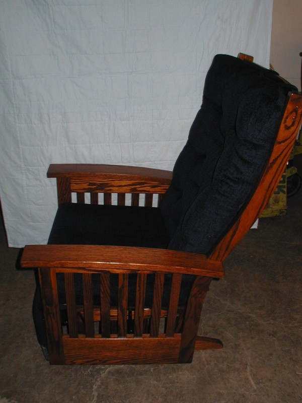 Amish Upholstered Oak Glider