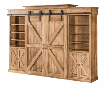 Wormy Maple Barn Door Entertainment Center