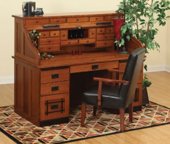 62 Mission Roll-Top Desk  -  Cat No: LVF3062RT-DOT  -  Click To Order  -  ID: 882